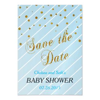 Azul del bebé y fiesta de bienvenida al bebé invitaciones magnéticas