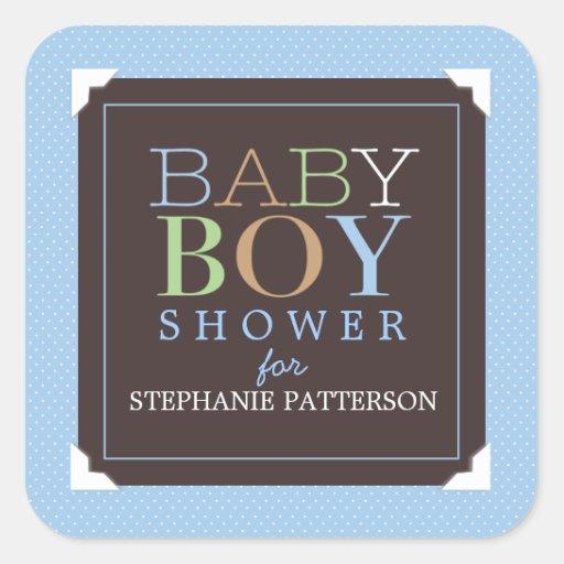 Azul del bebé y fiesta de bienvenida al bebé pegatina cuadrada