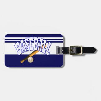 Azul del béisbol etiquetas de maletas