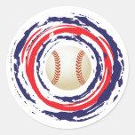 Azul del béisbol y blanco rojos etiqueta redonda