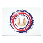 Azul del béisbol y blanco rojos invitación 12,7 x 17,8 cm