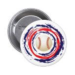 Azul del béisbol y blanco rojos pin