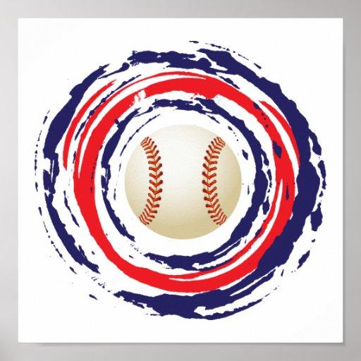 Azul del béisbol y blanco rojos poster