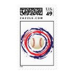 Azul del béisbol y blanco rojos sello