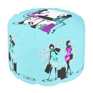 Azul del bff de las compras de la moda de los puf redondo