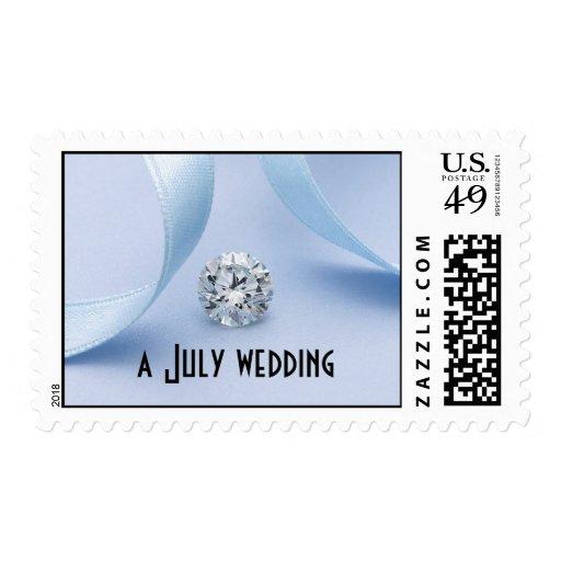 Azul del boda de julio y sello del diamante