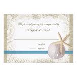 Azul del boda de playa con el dólar de arena y las invitacion personalizada