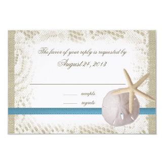 Azul del boda de playa con el dólar de arena y las