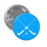 Azul del botón de la silueta del hockey hierba pin