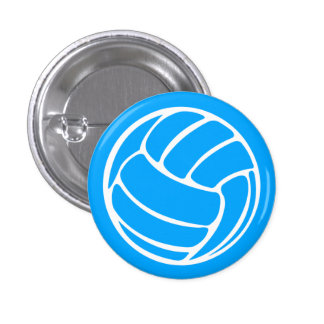 Azul del botón de la silueta del voleibol