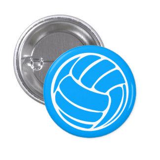 Azul del botón de la silueta del voleibol pin redondo de 1 pulgada