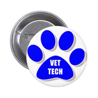azul del botón de la tecnología del veterinario pin redondo de 2 pulgadas