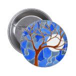 Azul del botón del arte del árbol y de la luna pins