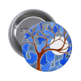 Azul del botón del arte del árbol y de la luna pin redondo de 2 pulgadas