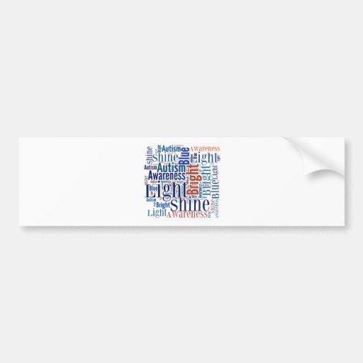 Azul del brillo para los productos del autismo pegatina de parachoque