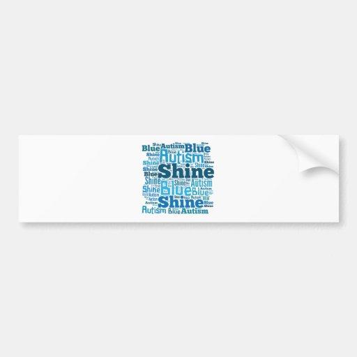 Azul del brillo para los productos del autismo etiqueta de parachoque