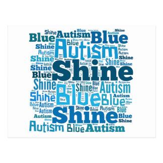 Azul del brillo para los productos del autismo postales