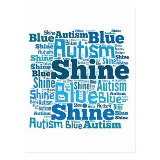 Azul del brillo para los productos del autismo tarjeta postal