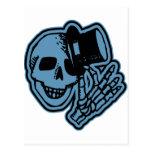 Azul del caballero del sombrero de copa del cráneo postal