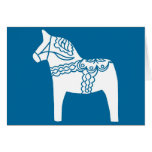 Azul del caballo de Dala Tarjeta De Felicitación