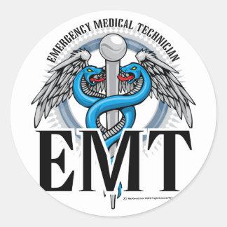 Azul del caduceo de EMT Pegatina Redonda