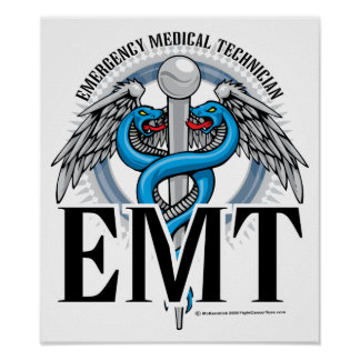 Azul del caduceo de EMT Póster