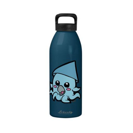 Azul del calamar del bebé botella de agua