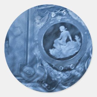 azul del camafeo del vintage pegatina redonda