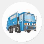 azul del camión de basura 3d etiquetas