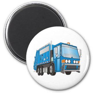 azul del camión de basura 3d imán redondo 5 cm