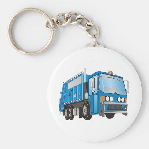 azul del camión de basura 3d llavero redondo tipo pin