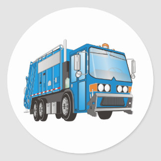 azul del camión de basura 3d etiquetas redondas