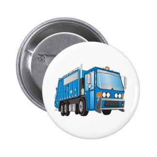 azul del camión de basura 3d pin redondo 5 cm