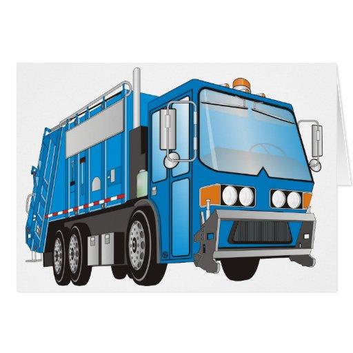 azul del camión de basura 3d tarjeta de felicitación