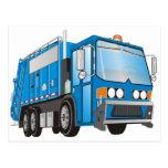 azul del camión de basura 3d tarjetas postales