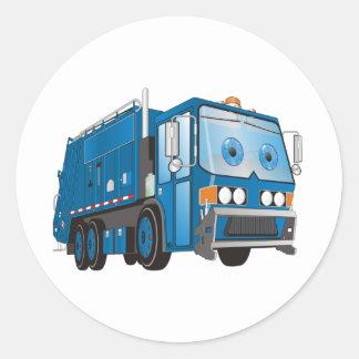 Azul del camión de basura del dibujo animado pegatina redonda