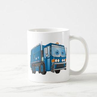 Azul del camión de basura del dibujo animado tazas de café