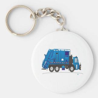 Azul del camión de la basura llavero redondo tipo pin