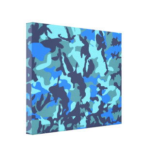 Azul del camuflaje impresión en lienzo
