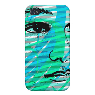 Azul del caso del iPhone 4 de la cara de la bellez iPhone 4 Carcasas
