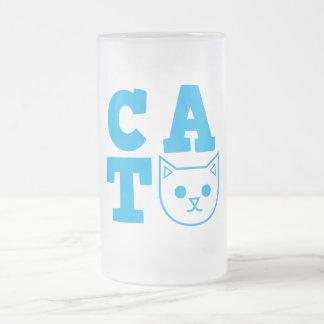 Azul del CAT Taza De Cristal