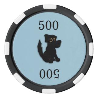 Azul del chucho del perro negro juego de fichas de póquer