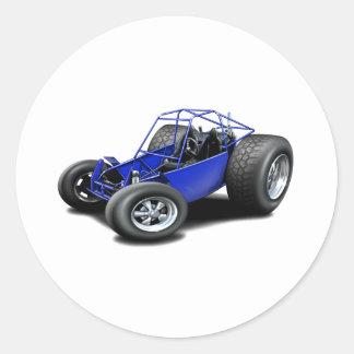 Azul del coche de playa pegatina redonda