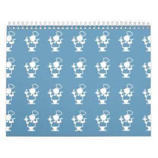 Azul del cocinero calendarios de pared