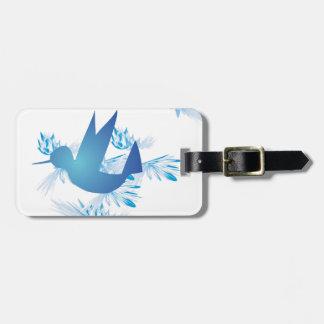 Azul del colibrí etiqueta de maleta