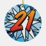 Azul del cómic 21 adorno navideño redondo de cerámica