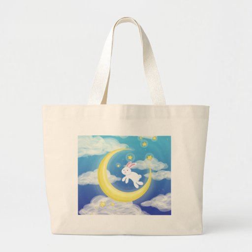 Azul del conejito de la luna bolsas lienzo