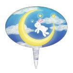 Azul del conejito de la luna decoración de tarta