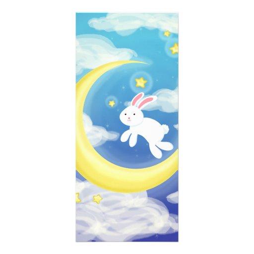 Azul del conejito de la luna plantilla de lona