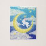 Azul del conejito de la luna puzzle